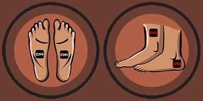 Position électrodes douleur aux pieds